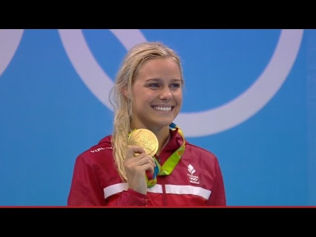Pernille Blume DEN wins women's Olympic Gold in 50m free swimming with a time of 24 07