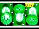 ✂DIY - Como Fazer Luminária Feita de Garrafa Pet e Colheres Descartáveis (Verde e Branca) Lustre03