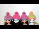 Как связать шапку с помпоном для куклы Монстер хай и других кукол