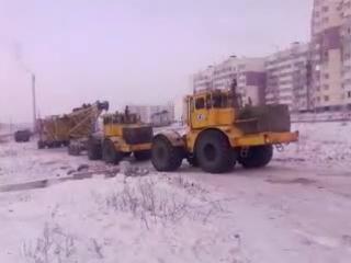 Перевозка башенного крана в 2 тяги Кировец К 700 701