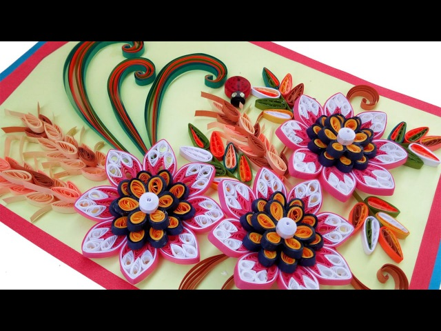 ☑️paper quilling card ❤Beautiful Quilling 3D flower quilling greeting cards 🌲Paper Quilling Art🌲