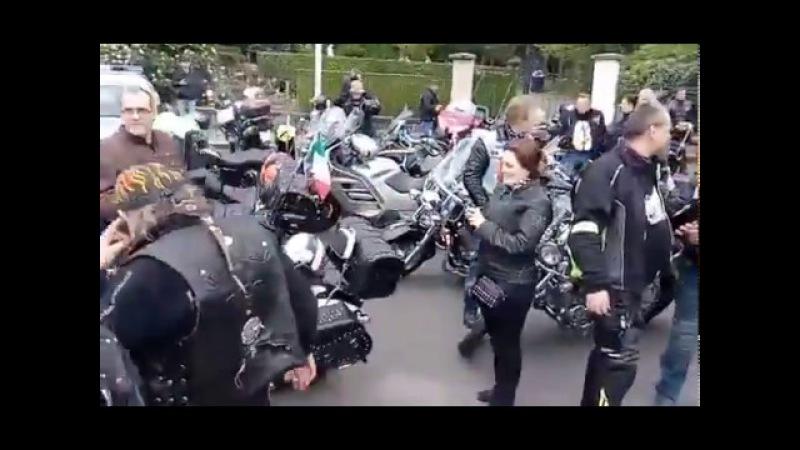Noční Vlci, přejezd Folknáře, pietni akt Cesty vítězství / Дороги Победы - DĚČÍN 2017
