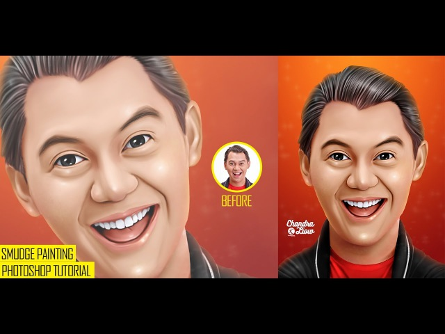 [ FULL ] PHOTOSHOP TUTORIAL - Smudge Painting Effect ( Caricature Chandra Liow )