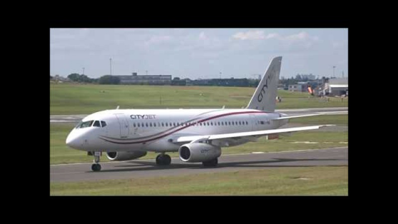Cityjet Sukhoi Superjet 100 arriving and departing at Birmingham Airport with ATC - 20th July 2016