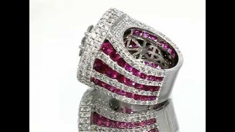 14K White Gold Mens Custom Diamond Ruby Pinky Ring 14.38 Ctw