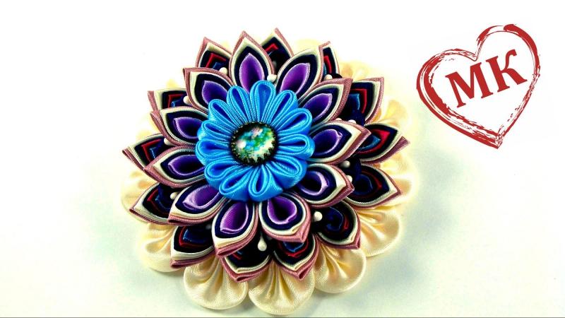 Канзаши цветы мастер класс. Многослойный цветок канзаши (сборка)