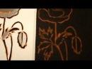 Мой мастер класс - перевод рисунка на чёрн ткань и слайд - шоу вышивки - красный мак.