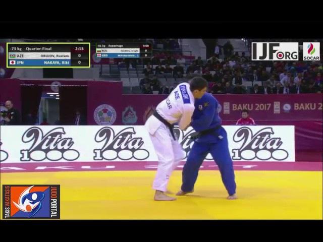 Judo Grand Slam Baku 2017 -73kg ORUJOV Rustam (AZE) vs NAKAYA Riki (JPN)