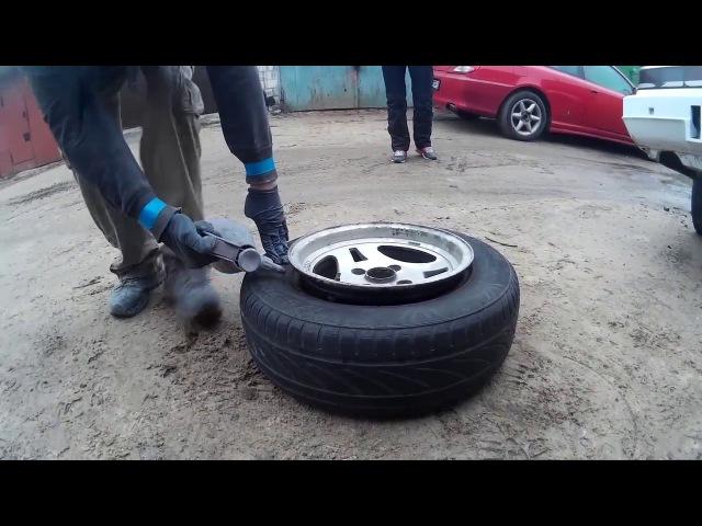 Надеваем шину на широкий диск взрывом