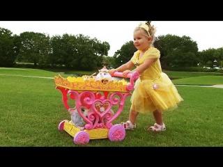 ✿ ПРИНЦЕССА Диснея Белль НА ПРОГУЛКЕ Принцессы Belle Disney Princess Play Игры для Девочек Toy Cat