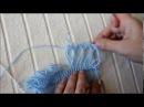 Вязание крючком на вилке. Палантин бело-голубой с видео