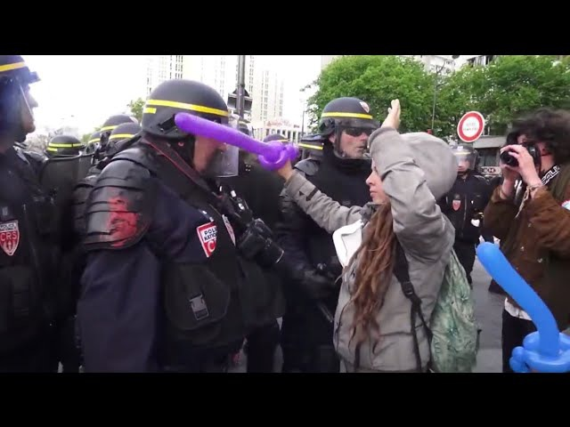 Leftist Protester Cries After Being Glanced By Balloon