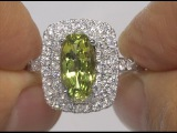 GIA Certified UNHEATED Natural VVS Green Sapphire Diamond 14k White Gold Engagement Ring - C460