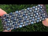 Certified Estate VS Natural Blue Sapphire Diamond 18k Black Gold Tennis Bracelet - C343