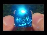 Estate Natural FLAWLESS London Blue Topaz &amp Diamond 14k White Gold Ring - C110