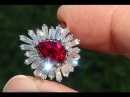GIA Certified UNHEATED Natural VVS Ruby Diamond 18k White Gold Vintage Cocktail Ring - A141560