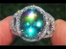 GIA Certified FLAWLESS Natural Blue Zircon Diamond 14k White Gold Cocktail Ring - C189