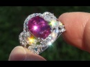 AIG Certified Estate UNHEATED Natural Ruby Diamond PLATINUM Vintage Cocktail Ring - A131565