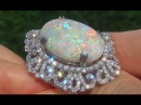 GIA Certified Coober Pedy Mined Natural Australian Opal Diamond 18k White Gold Estate Ring - A141575
