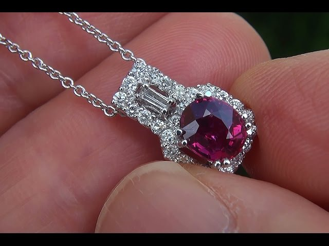 GIA Certified UNHEATED Natural VS Red Ruby Diamond 18k White Gold Pendant Necklace - C548