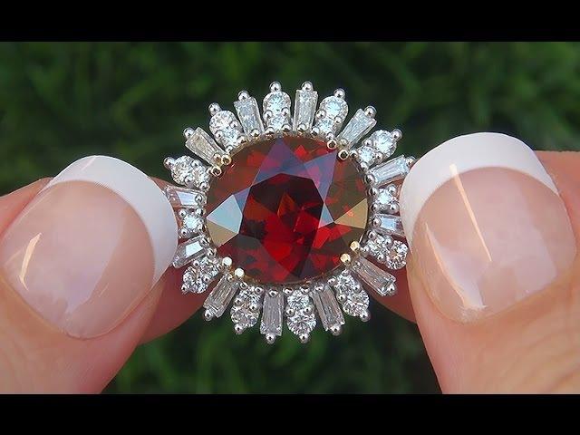 GIA Certified Estate VVS1 UNHEATED Spessartite Garnet Diamond 14k White Gold Ring - A141610