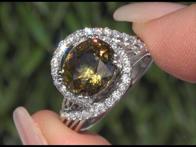 GIA 6.03ct Color Change Demantoid Garnet 14k Gold Ring Very Rare C229