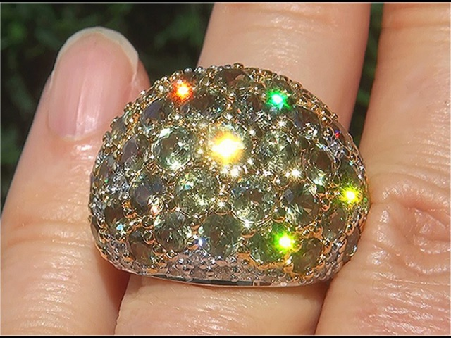 Worlds Largest Total Carat Weight GIA Certified Natural FLASH Demantoid Garnet Diamond - C808