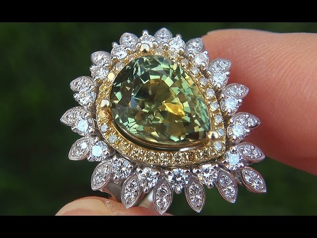 GIA Certified UNHEATED Natural Green Yellow Sapphire Diamond 18k Gold Vintage Ring - A131462a