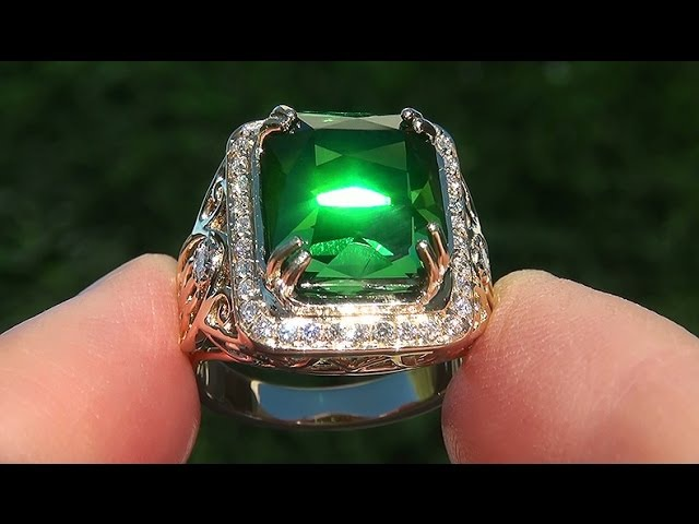 GIA Certified FLAWLESS Natural Green Tourmaline Diamond 14k Yellow Gold Ring TOP GEM - A141567