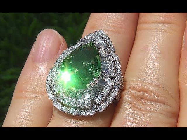 GIA Certified VS Natural Tsavorite Garnet Diamond 18k Gold Vintage Ring - A141474