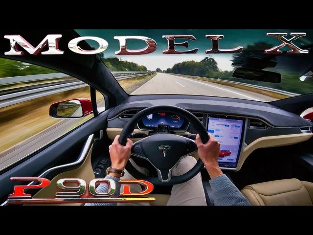 Tesla Model X P90D Ludicrous ACCELERATION TOP SPEED POV Test Drive on Autobahn