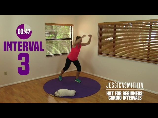 HIIT for Beginners Cardio Intervals Fat Burning Exercise Full Workout Video at Home No Equipment