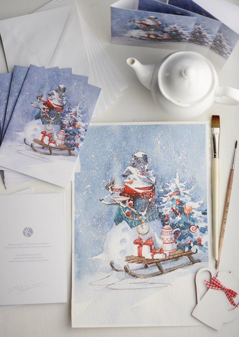 Новогодние открытки акварелью своими руками