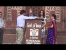 William and Kate sign the visitor book at the Taj  Mahal