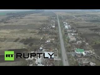 В деревне Никишино Донецкой области беспилотник заснял детей, играющих на площадке