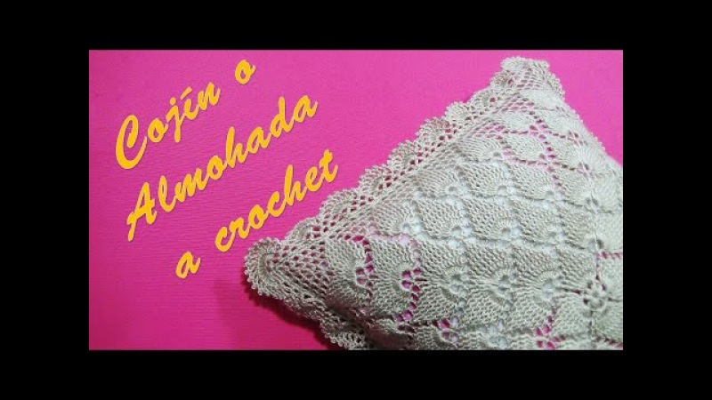 Cojín o Almohada tejido a crochet paso a paso en Puntos Hojas en Relieves y Pavo Real