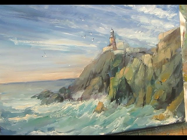 Oil painting. The sea, the rocks, the lighthouse.