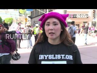 США: Сотни тысяч марш против Трамп в Лос-Анджелесе.