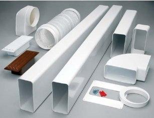 Пластиковые воздуховоды и фасонные части, которые могут понадобится при монтаже