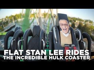 Flat Stan Lee Rides The Incredible Hulk Coaster