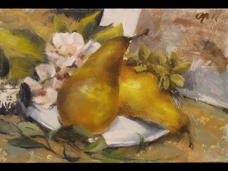 Pears. oil painting