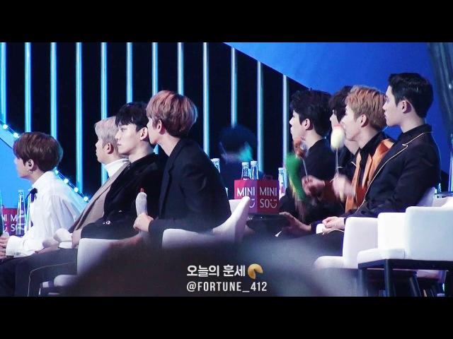170114 EXO REACTION TO NCT127 LIMITLESS @ GDA, 후배분들 무대를 열심히 보는 엑소~