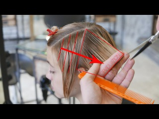 Step by step short women haircut with long fringe