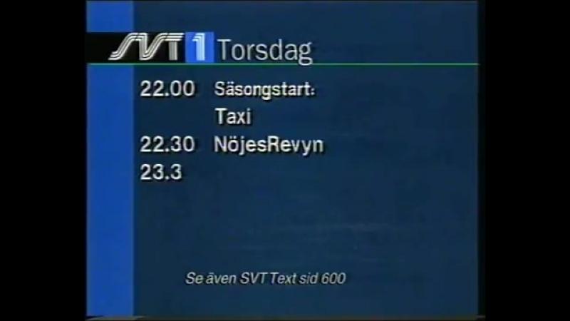 Анонс, диктор, программа передач и конец эфира (SVT1 [Швеция], 08.02.1996)