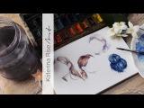 Как рисовать волосы разных цветов акварелью ♡ Урок по рисованию разных причесо ...