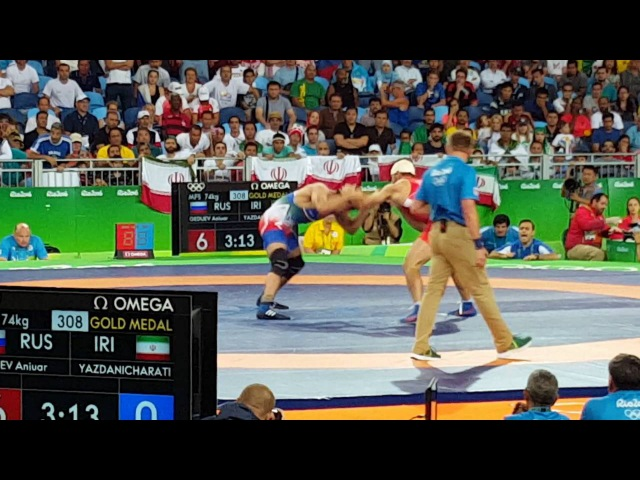 Iran's Hassan Yazdani wins Olympic Wrestling Gold Medal in last 3 seconds of 74kg match at Rio2016!