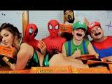 SPIDER-MAN &amp Deadpool VS Mario &amp Luigi! Epic Eating Reese's Challenge!