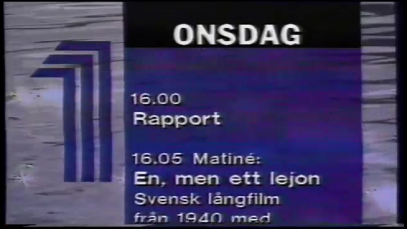 Диктор, программа передач и конец эфира (Kanal 1 [Швеция], 05.09.1995)