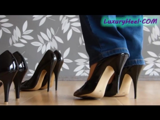 High, higher or highest patent black stiletto heels
