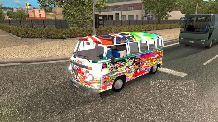 Микроавтобусы Volkswagen Hippie Van v2 в трафик для версии ETS2 1.27.хх